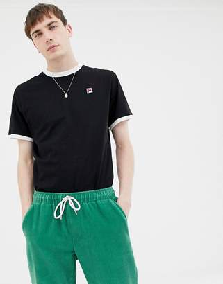 Fila White Line Ringer T-Shirt With Small Logo In Black