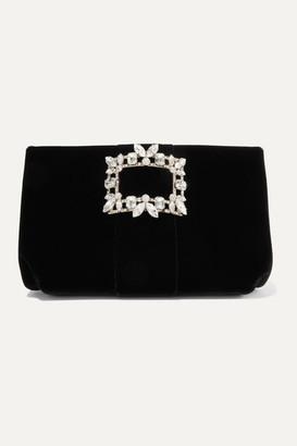 Roger Vivier Crystal-embellished Velvet Clutch - Black