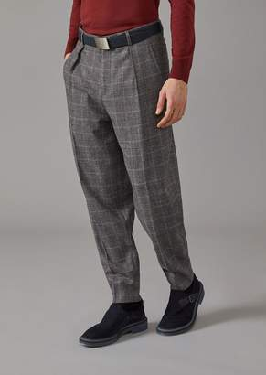 Giorgio Armani Trousers With Darts In Twill With Prince Of Wales Design