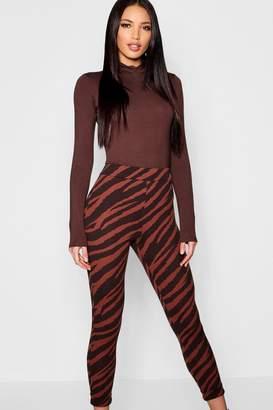 boohoo Zebra Print Skinny Pants