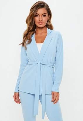 Missguided Light Blue Tie Waist Jersey Blazer