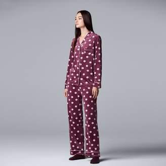 Vera Wang Women's Simply Vera 3-piece Velour Top & Pants Pajama Set