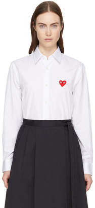 Comme des Garcons White and Red Mens Fit Heart Patch Shirt