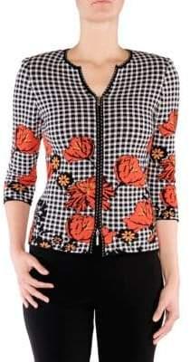 Stizzoli, Plus Size Gingham Zip Jacket