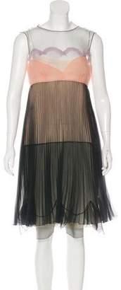 Prada Pleated Color-Block Knee-Length Dress