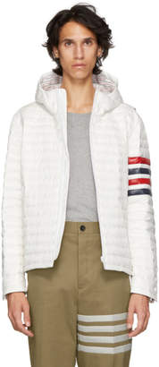 Thom Browne White Quilted Four Bar Jacket