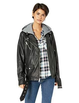 Levi's Women's Faux Leather Oversized Hooded Motorcycle Jacket