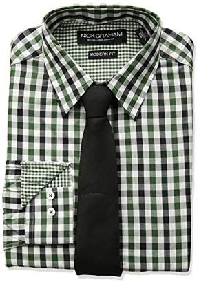 Nick Graham Men's Long Multi Gingham Dress Shirt with Solid Tie Set