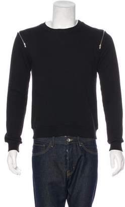 Saint Laurent 2015 Zip-Accented Crew Neck Sweater
