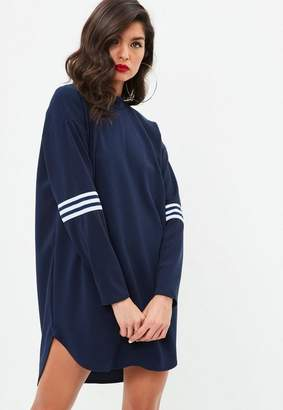 Missguided Navy Sports Trim High Neck Shift Dress