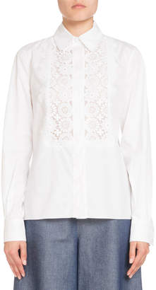 Andrew Gn Classic Lace-Trim Poplin Blouse