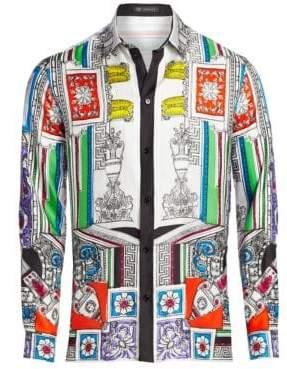 Versace Multicolor Print Silk Shirt