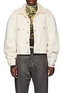 R 13 Women's Kent Faux-Shearling-Lined Oversized Denim Jacket - Cream