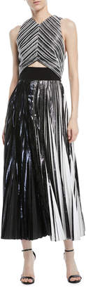 Proenza Schouler High-Neck Sleeveless Metallic Foil Cloque Cocktail Dress