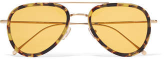 Illesteva Wooster Aviator-style Tortoiseshell Acetate And Gold-tone Sunglasses