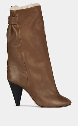 Isabel Marant Women's Lakfee Leather Mid-Calf Boots - Khaki