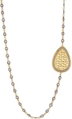 Freida Rothman 14K Gold & Rhodium Plated CZ Lattice Motif Teardrop Trellis Necklace