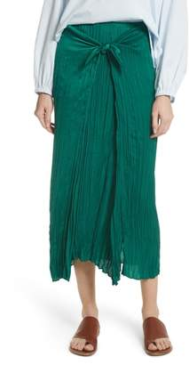 Vince Pleated Tie Front Midi Skirt