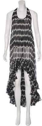 Thomas Wylde Ruffle-Accented Silk Dress