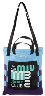 Miu Miu 2020 Print Canvas Tote Bag blue 2020 Print Canvas Tote Bag