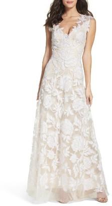 Women's Tadashi Shoji A-Line Lace Gown $998 thestylecure.com