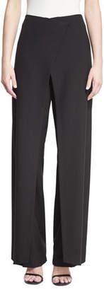 Zac Posen Wrap-Front Wide-Leg Pants, Black