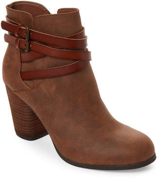 Madden-Girl Cognac Dandyy Buckle Ankle Booties