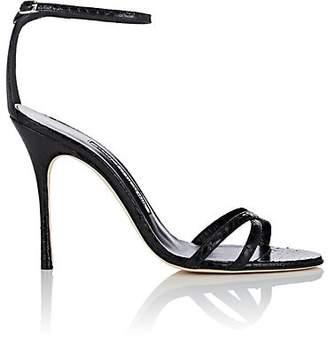 Manolo Blahnik Women's Paloma Snakeskin Sandals - Black