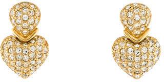 Christian Dior Christian Dior Crystal Heart Clip-On Earrings
