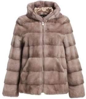 Norman Ambrose Hooded Mink Fur Jacket