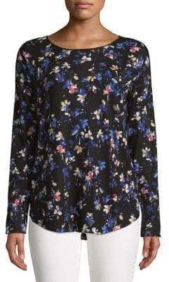 Context Long Sleeve Floral Printed Sweater