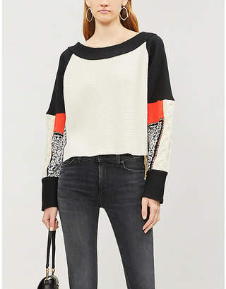 Free People Josie stretch-knit and cotton-jersey jumper