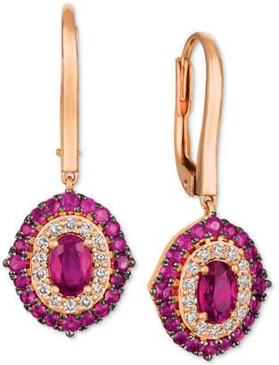 LeVian Le Vian Passion Ruby (1-5/8 ct. t.w.) & Diamond (1/3 ct. t.w.) Drop Earrings in 14k Rose Gold