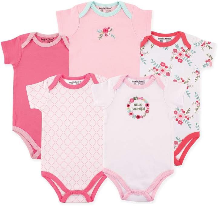 Luvable Friends Size 9-12M 5-Pack Floral Short Sleeve Bodysuits in Light Pink