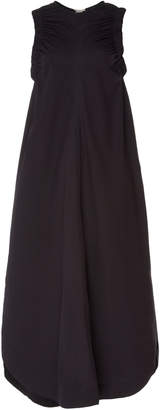Lee MATHEWS Elsie Ruched Cotton-Blend Midi Dress