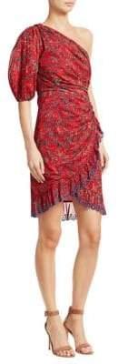 Etoile Isabel Marant Esther Printed Cotton One-Shoulder Dress