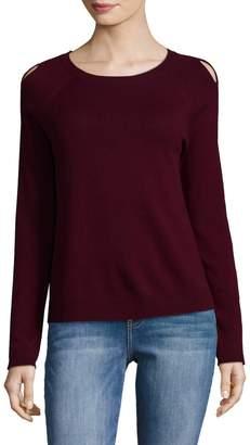 White + Warren Women's Wool-Blend Cutout Sweater