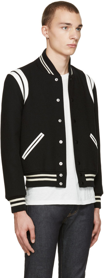 Saint Laurent Black Teddy Bomber Jacket 4