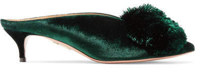 Aquazzura - Powder Puff Pompom-embellished Velvet Mules - Dark green