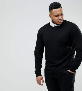 Asos DESIGN Plus crew neck cotton sweater in black