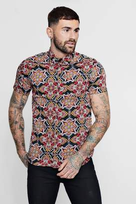 boohoo Paisley Mandala Print Short Sleeve Shirt
