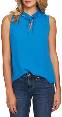 CeCe Ruffle Detail Tie Neck Sleeveless Blouse