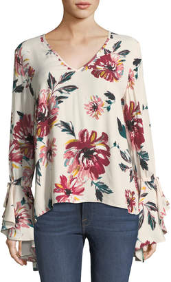 1 STATE 1.State Floral Bell-Sleeve Blouse