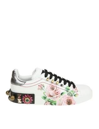 Dolce & Gabbana portofino Sneakers In Printed Calf With Applications