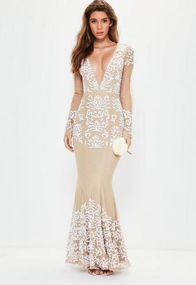 Bridal Nude Long Sleeve Plunge Embellished Maxi Dress $285 thestylecure.com