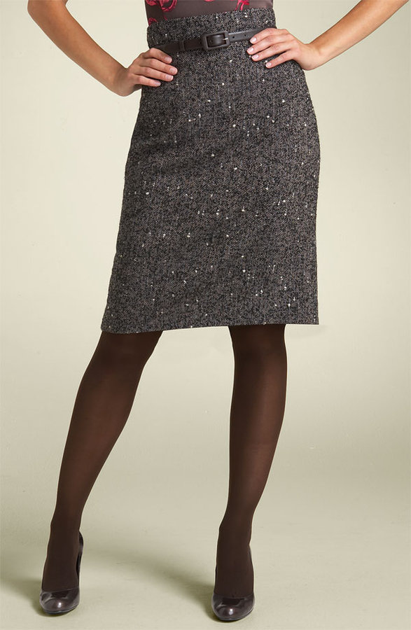 Classiques Entier® High Waist Tweed Skirt with Back Pleats (Petite)