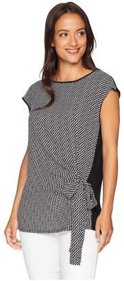 Vince Camuto Short Sleeve Mix Media Cabana Texture Tie Front Blouse Women's Blouse