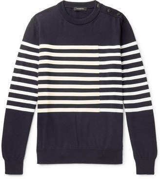 Ermenegildo Zegna Leather-trimmed Striped Cotton And Cashmere-blend Sweater - Navy