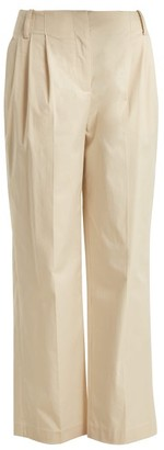 Diane von Furstenberg Pleat Front Cotton Poplin Trousers - Womens - Beige