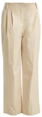Diane Von Furstenberg - Pleat Front Cotton Poplin Trousers - Womens - Beige